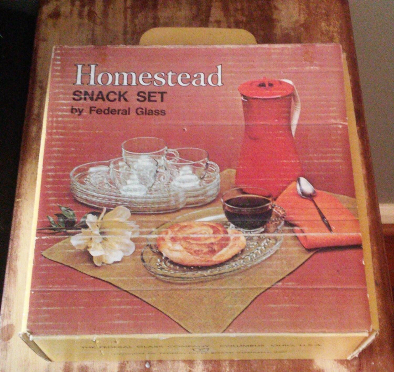 On sale vintage federal glass homestead snack set clear