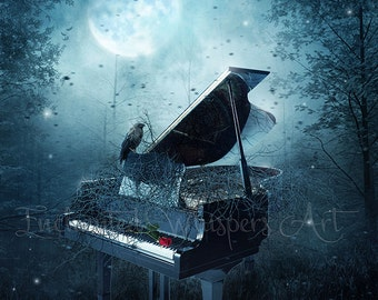 dark fantasy piano art print