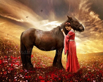 Horse and woman art, Horse print, fantasy horse print, medieval woman art, horse wall art, horse decor, fantasy wall art, field of flowers