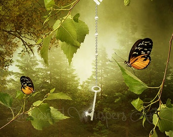 fantasy key and butterflies art print