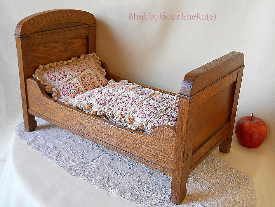 Art Nouveau doll bed large old oak wood doll crib with linen
