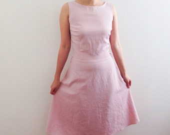 Vtg 90s pink mid skater dress