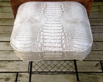 Faux Alligator Mid Century Footstool