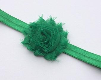 Emerald shabby flower headband