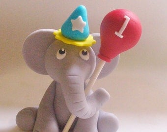 CIRCUS PARTY ELEPHANT with Balloon Edible Fondant Cake Topper