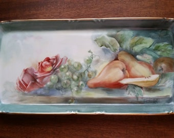 Tray Hand Painted Flowers Fruit Gilded Blue Signed Vintage