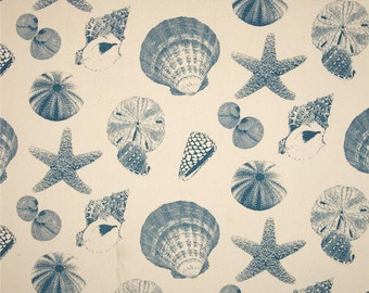 Fabric Shower Curtain 72 Wide Premier Print Shells Collection 72x72 72x84 72x96 Blue Coral