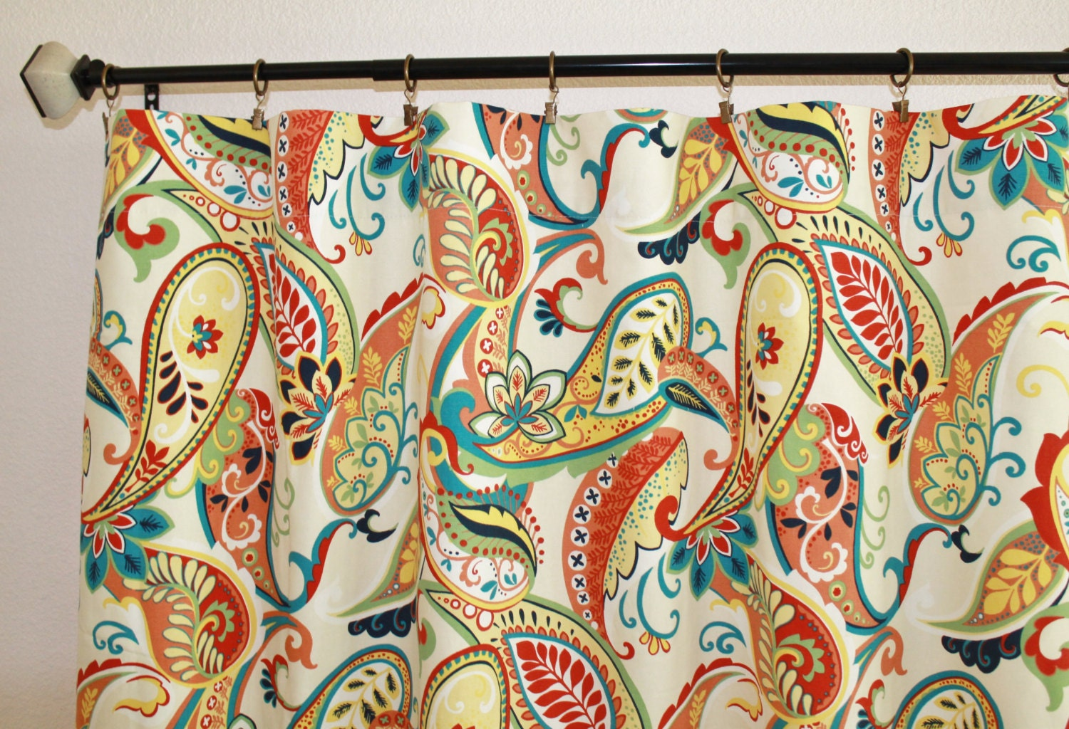 Curtains Pair Of 25 Wide Covington Whimsy Paisley Mardi