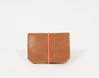Isaac - brown/pink leather wallet