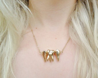 Gold Tooth Teeth Dental Dentist Anatomical Anatomy Necklace Jewellery Jewelry