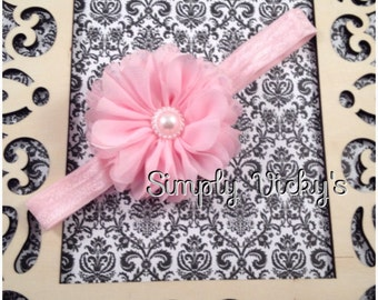 Pink Cute Flower Hair Bow with Headband