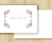 Floral Wedding Invitations - Blank Ready to Write - Pretty Pastels Range - Pack of 25