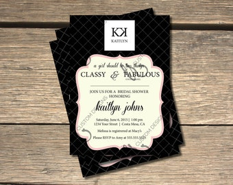 Coco Chanel Inspired Bridal Shower Invitation - 5x7