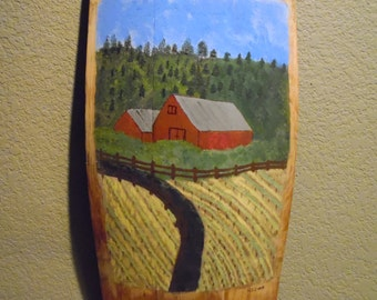 Hand Painted Barrel Staves with Red Barns, Vineyards, Home Decor, Wine Lover, Spent Wine Barrel