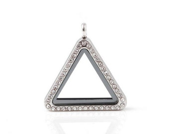 Triangle Locket Pendant,Rhinestone Locket,Floating Charm Locket,Necklace Locket FLPT-33