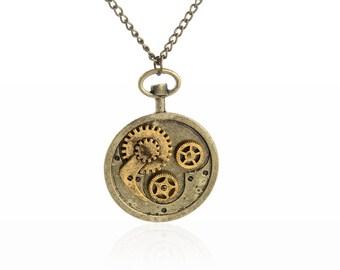 Steampunk Jewelry,Steampunk Gear Pocket Watch Shape Necklace,Gothic,Victorian,Industrial, NL-2511