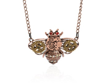 Steampunk Necklace Vintage watch movement gears,Victorian Bumble Bee Pendant,NL-2512