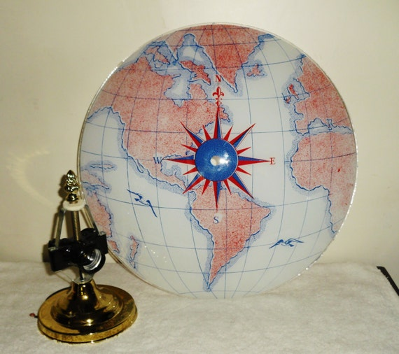 Nautical Shade For Vintage String Lights: Vintage Nautical World Map Ceiling Light Fixture Shade Globe W