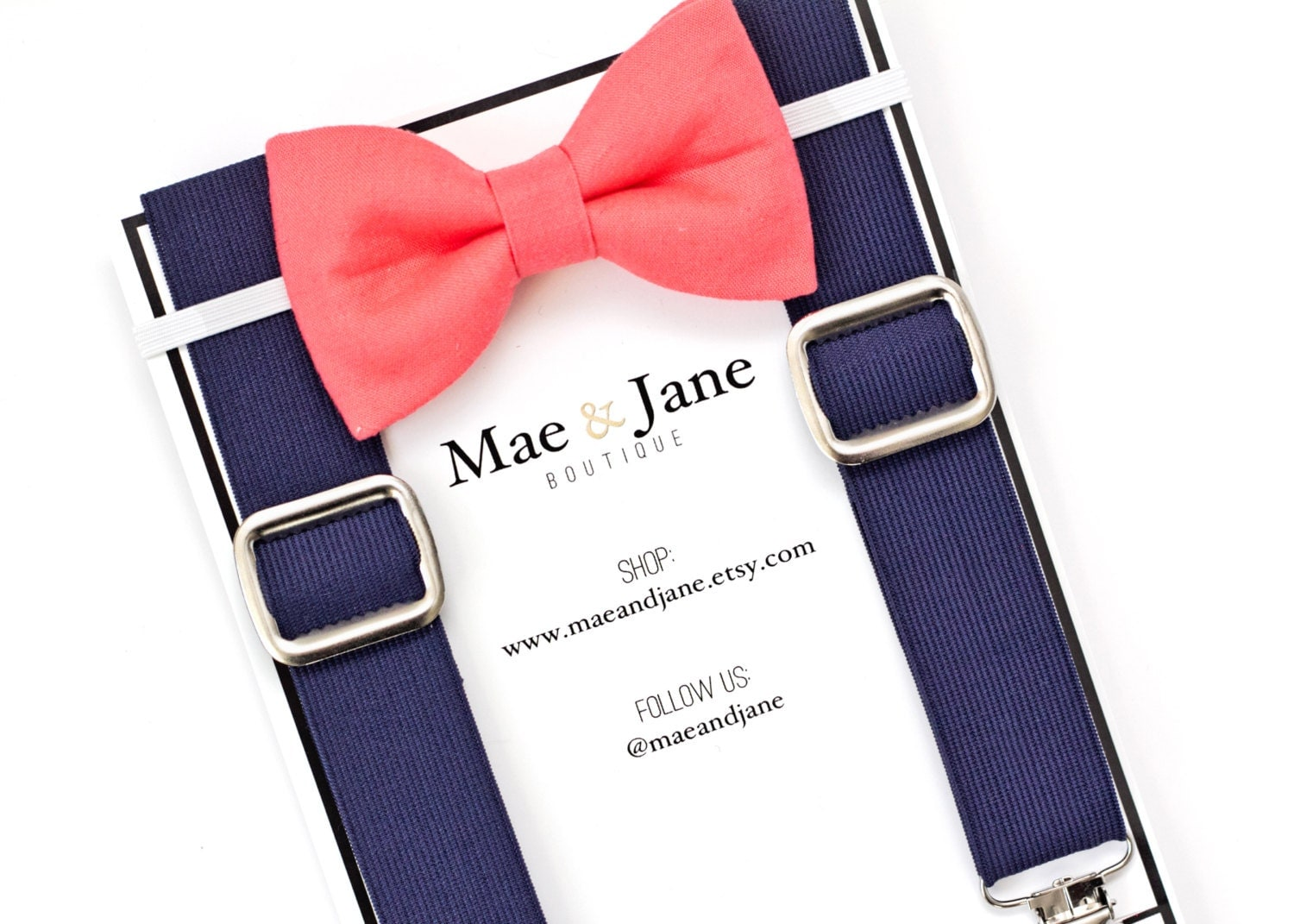 boys bow tie and suspenders set coral boys bow tie with navy