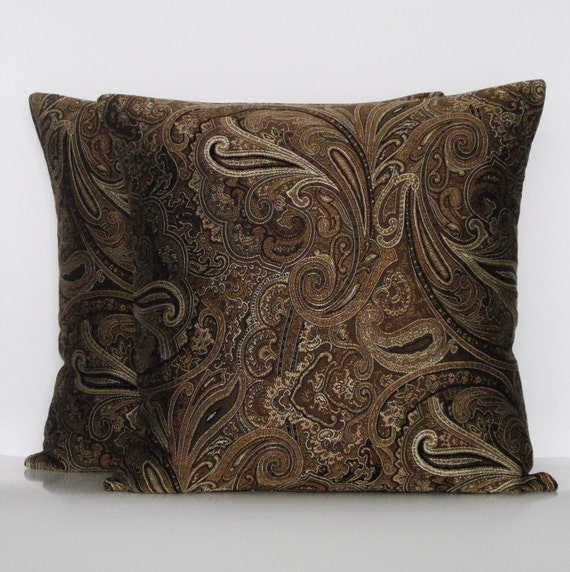 Brown Paisley Pillow Covers Decorative Throw Accent Toss Gold