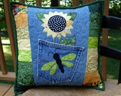 Sunny Yellow Sunflower Recycled Denim Jean Quilted Pillow with lime green dragonfly