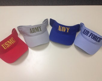 USA Military Branch Visors, USMC, Army, Navy, or Air Force Visors, Embroidered Military Branch Visors/Caps