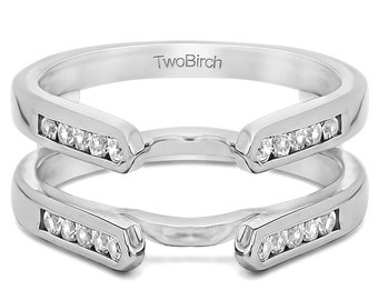 Cathedral Engagement Ring Guard Enhancer - Sterling Silver Ring Guard with .20ct Cubic Zirconia