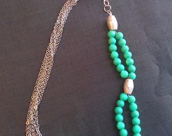 Statement Necklace// Yin Yang// Glass beads and Gunmetal chain
