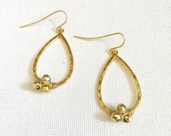 Pyrite Nugget Teardrop Earrings In Gold, Presh Earring, Gold Earring, Pyrite Teadrop Earring