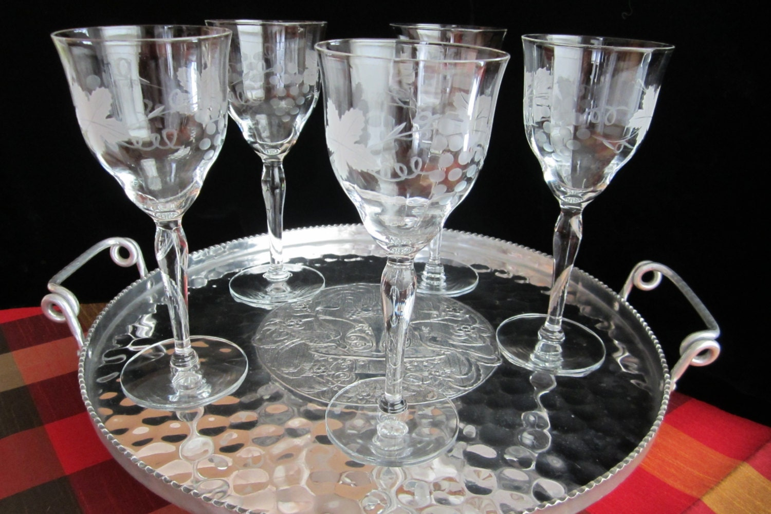 Etched Vintage Crystal Wine Glasses Water By Saltwatervillage