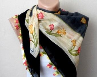 black scarf floral print scarf cotton scarf tulip pattern turkish scarf black yemeni scarf