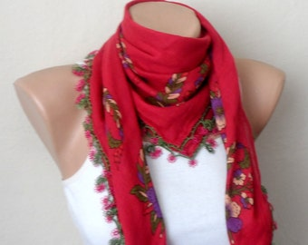 fuchsia pink scarf  yellow  flower purple  green pink  cotton turkish yemeni oya handmade