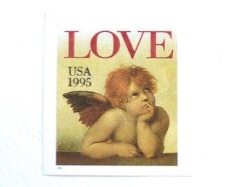 10 Unused Cherub LOVE Stamps // 32 Cent Vintage 1995 LOVE Postage Stamps