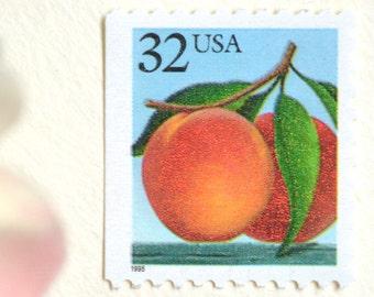 Peach Postage Stamps // 10 Unused Vintage Georgia Peach Stamps