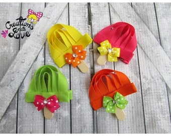 Popsicle Ribbon Sculpture Hair Clip. Popsicle