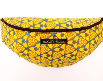 Butchi & Gosmos 'Stardust' Bumbag / Fanny pack / Hip bag in bright yellow with Shimmering blue print detail