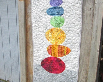 YOGA MAT COVER/Chakra colors/Meditation Quilted Wallhanging/Handmade Yoga mat cover/Balance Yoga Wallhanging/Meditation Room Wall Quilt