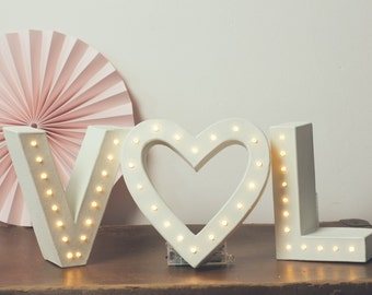 Wedding sign, wedding letters, light up initials  Initials & solid heart light up letter lights, marquee light, light up letters