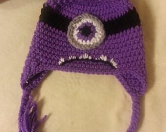 Crochet Evil Minion Ear Flap Hat