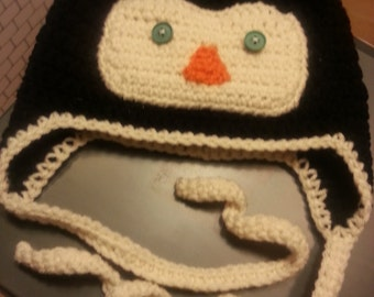 Crochet Penguin Ear Flap Hat
