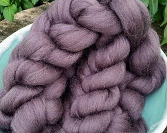 """CLEARANCE  Combed Top (roving) -  """"Plum"""" Corriedale wool, 4 oz"""