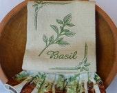 Basil Herb Ruffled Cotton Kitchen Towel