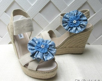 Slate Blue Shoe Clips, Slate Blue Wedding, Dusty Blue Floral Shoe Accessories, Matching Items Available