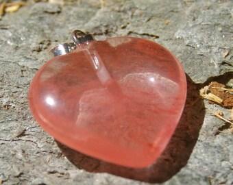 Cherry Quartz Heart Shaped Pendant - Heart, Valentine, Pink Heart, Stone Heart, Cherry Quartz