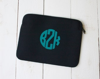 Circle MONOGRAM Glitter Neoprene Laptop Tablet Sleeve 10 13 15 inch Back To School College
