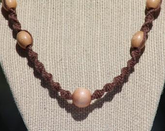 Wooden Bead Hemp Necklace