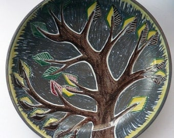 Lovely Large Vintage 1950s  Swedish Bowl with Stylised Image of a Tree.