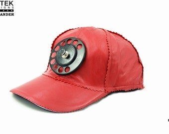 H iTek Alexanderthe ultimate red leather baseball hat head wear unuual unique