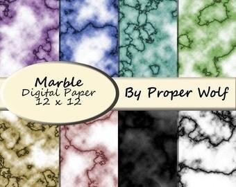 Marble Pattern Digital Scrapbooking Paper - Pastel Colors - Digital Download