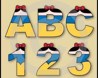 Snow White Alphabet Letters & Numbers Clip Art Graphics